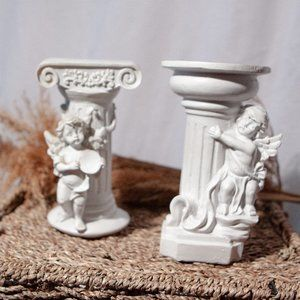 Set of Cherub Angel Candle Stands